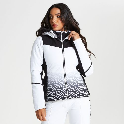 Women's Iceglaze Faux Fur Trim Luxe Ski Jacket - White